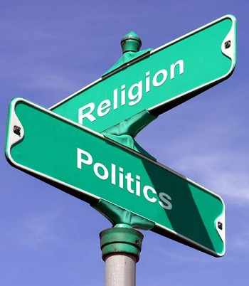 street sign - corner of religion and politics